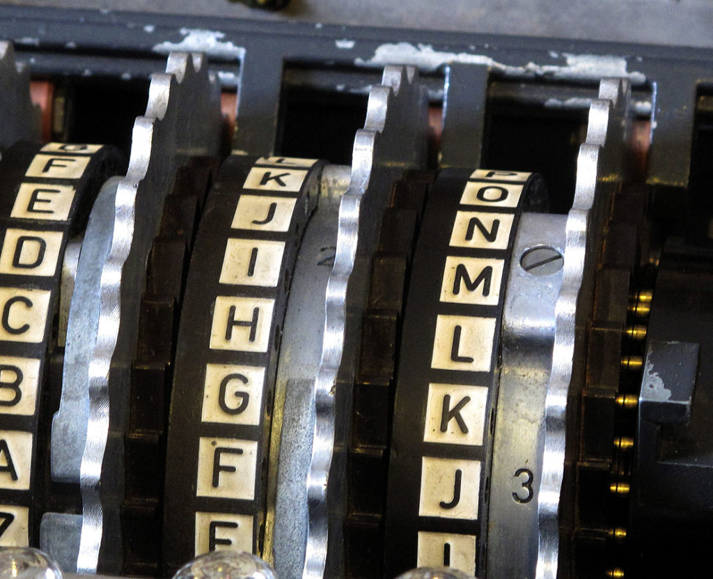 Close up photo of an old typewriter with ink on